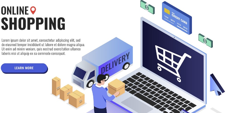 Online shopping concept. User holds a box. Web banner, infographics. Isometric vector illustration.