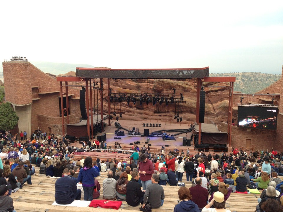 Red Rocks Amphitheather with people sitting