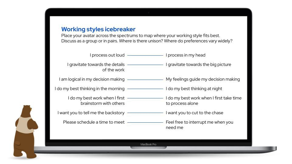 A MacBook screen showing an example of a working style icebreaker