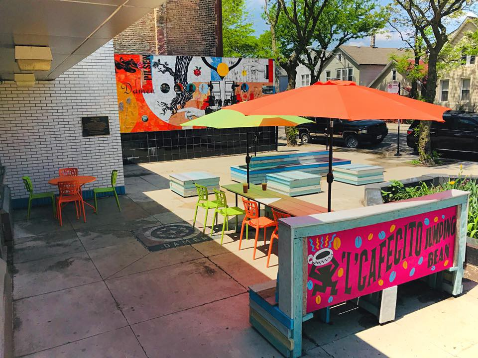 Patio Season Has Arrived At Jumping Beanu0027s Second Location In Pilsen. (Lu0027  Cafecito Jumping Bean/Facebook)
