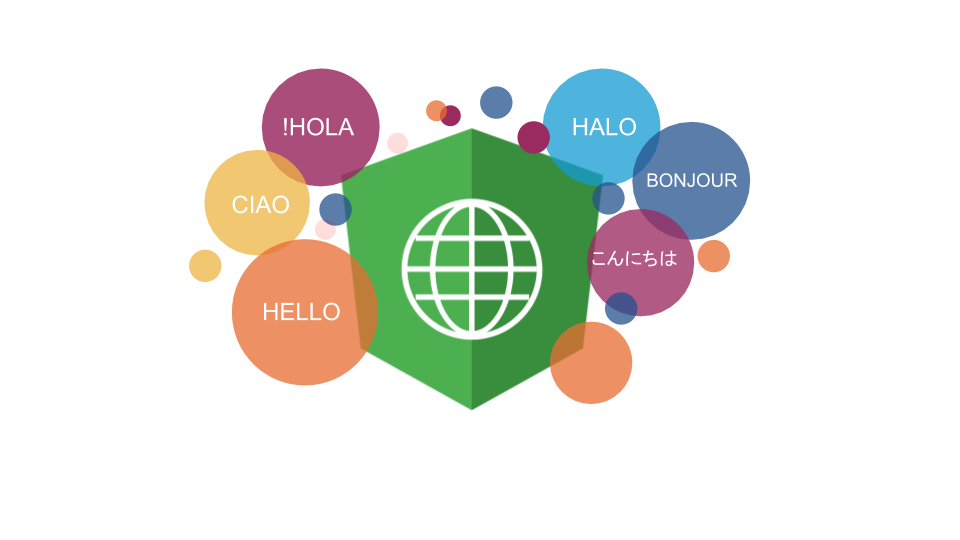 Angular i18n logo with colored circles featuring Hello in different languages.