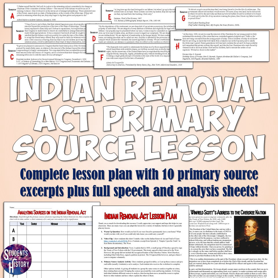 worksheet Trail Of Tears Worksheet indian removal act trail of tears lesson students history lesson
