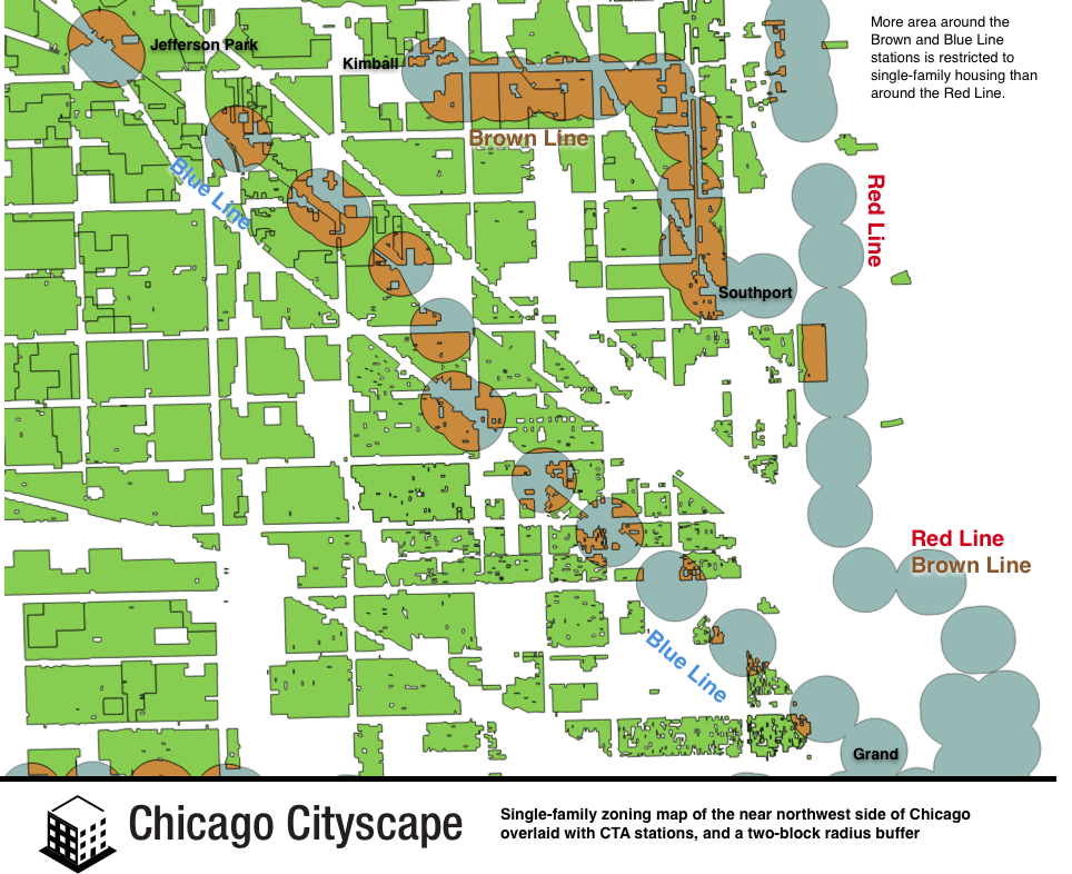 Too Much Land Around CTA Stations Doesnt Allow More Than Single - Chicago brown line map