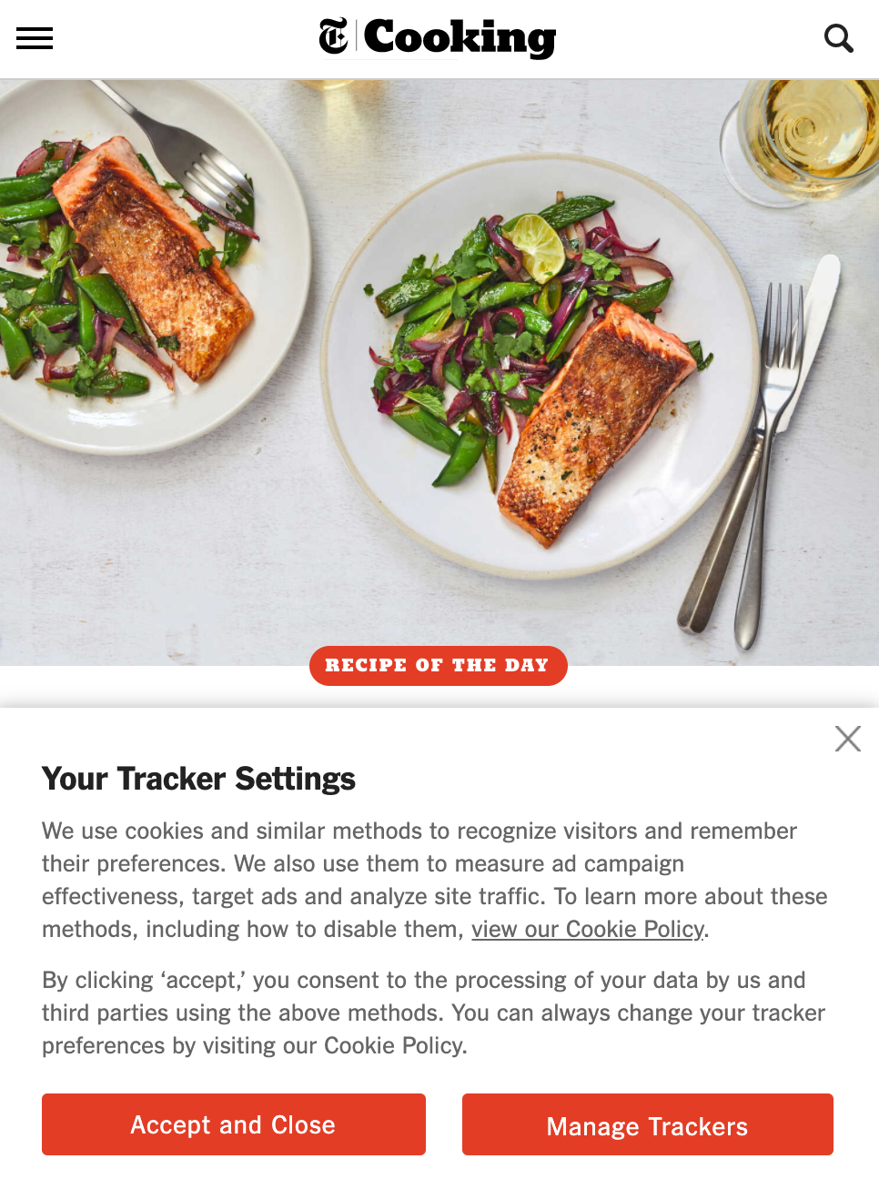 """A screenshot of a NYT Cooking page that shows a banner titled """"Your Tracker Settings"""" on the lower portion of the screen. The banner allows users to accept cookies or manage their settings."""