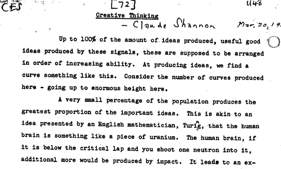 "claude shannon s ""creative thinking"" speech a genius reveals how  a speech from one of the 20th century s most brilliant minds about how to be creative"