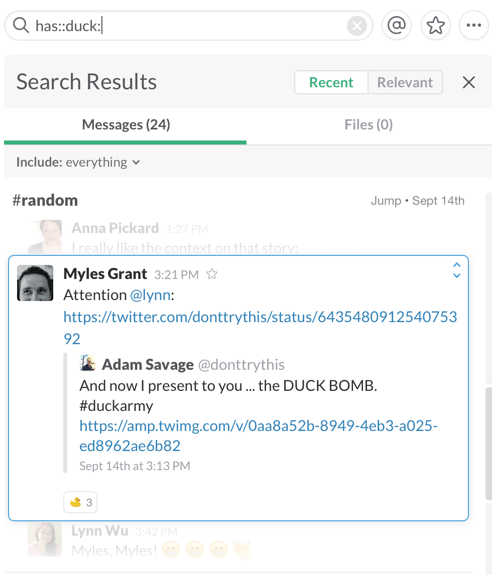 On your desktop you can also filter search results to remove those added by  bots and integrations (like imported tweets or Google docs).