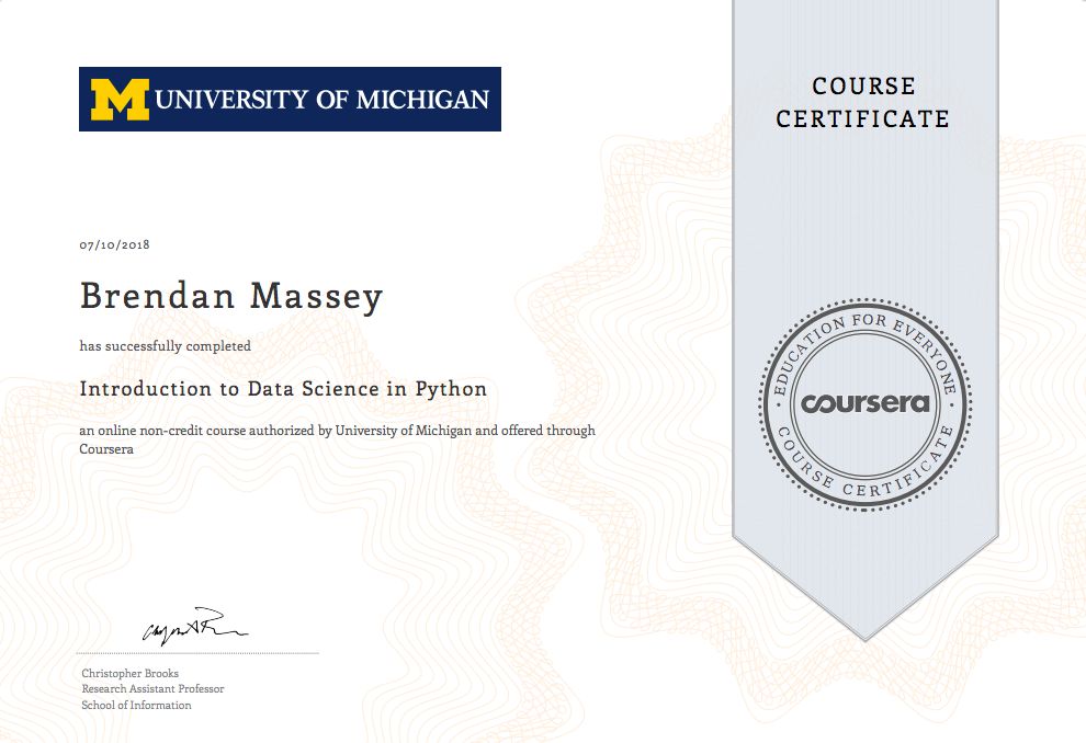 University Of Michigan Introduction To Data Science In Python