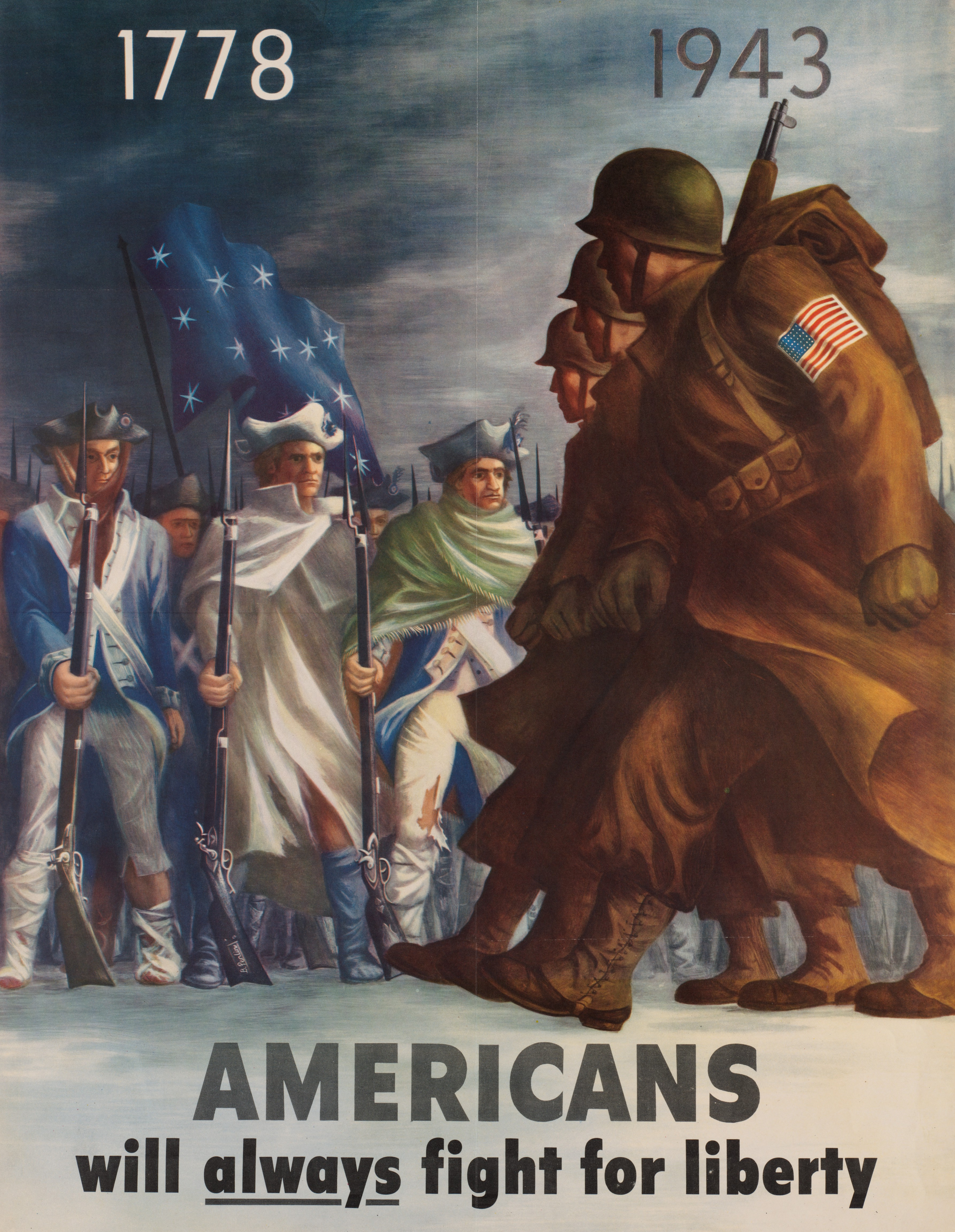 World War 2 poster: Americans will always fight for liberty