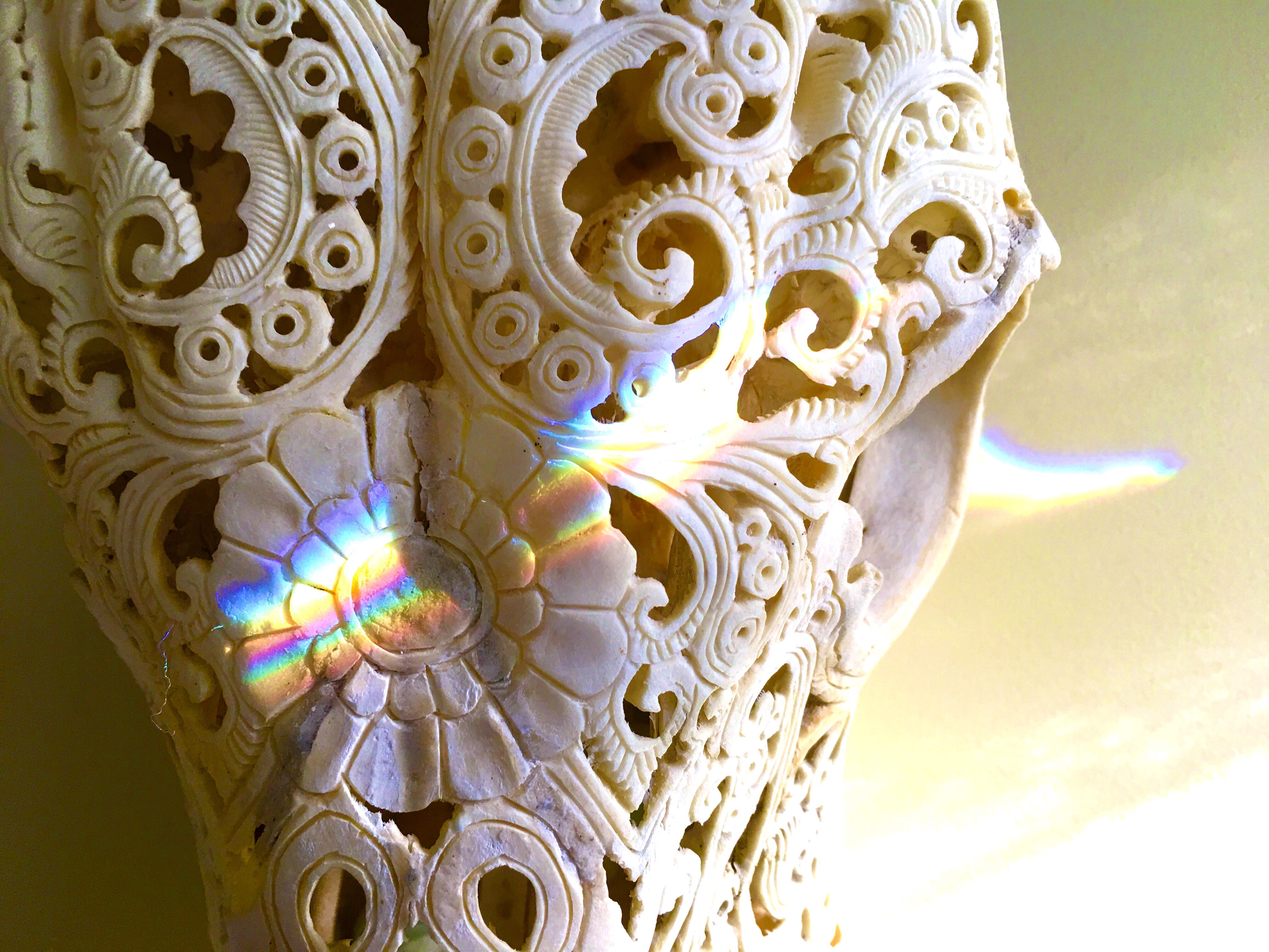 ornate filigreed carving of mid portion of a cow's skull crossed diagonally by a double rainbow